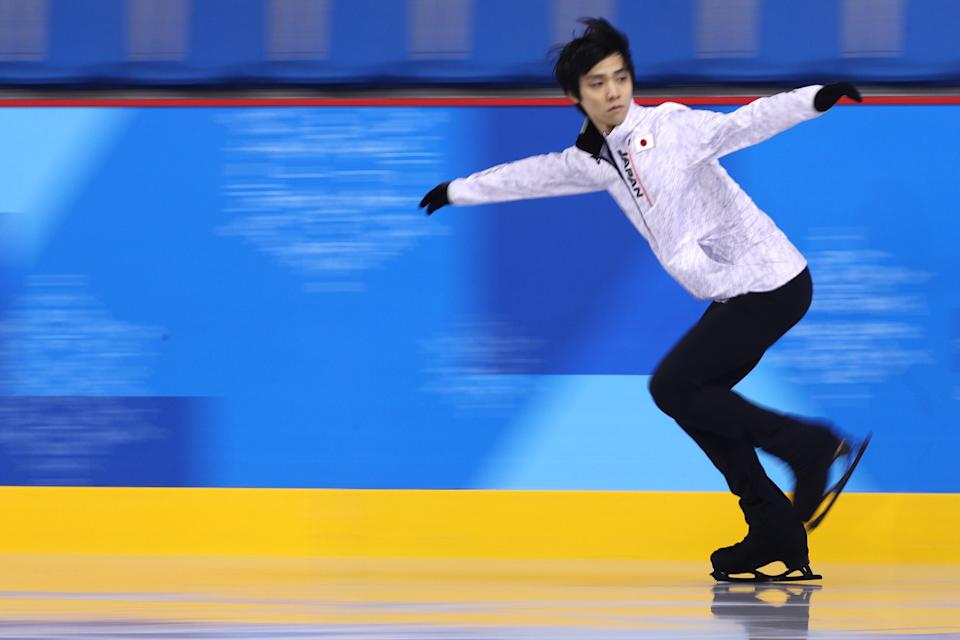 <p>Yuzuru Hanyu of Japan trains at the practice rink at Gangneung Ice Arena during day 3 of the PyeongChang 2018 Winter Olympic Games on February 12, 2018 in Gangneung, South Korea. (Photo by Maddie Meyer/Getty Images) </p>