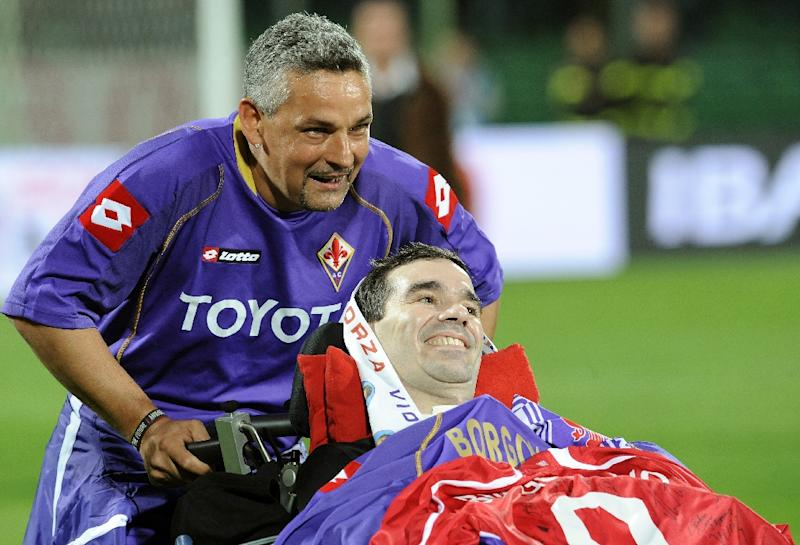 The late Fiorentina footballer Stefano Borgonovo (C) suffered from Amyotrophic Lateral Sclerosis (ALS), which destroys the part of the nervous system responsible for movement