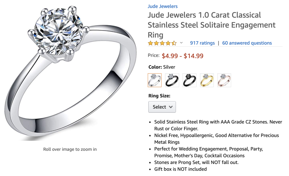 The 'real' Tiffany & Co. engagement ring turned out to be a $9 knock-off. Photo: Amazon.