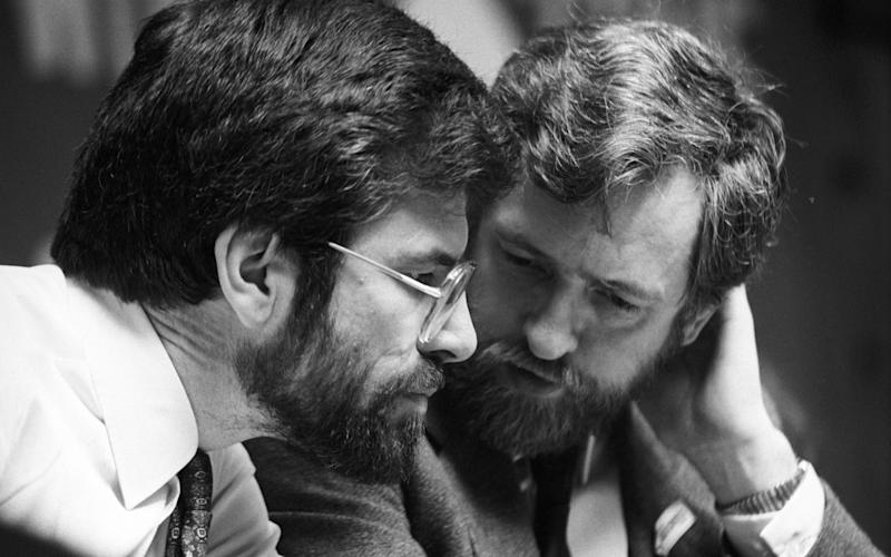 MP Jeremy Corbyn with Gerry Adams at the Bobby Sands and James Connolly commemoration at Conway Hall, London - Credit: Times Newspapers