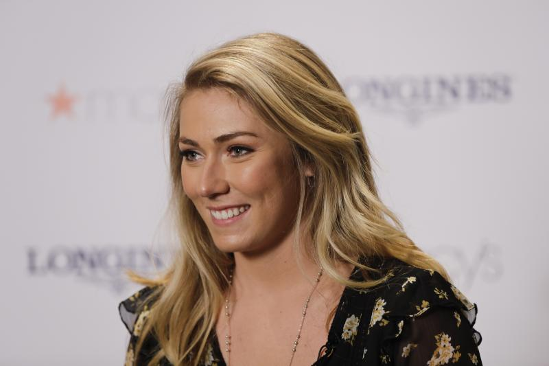 Mikaela Shiffrin listens to a question during a news interview Thursday, March 21, 2019, in New York. The 24-year-old American spent time in New York to celebrate an unprecedented 17 World Cup wins and her third straight overall title.(AP Photo/Frank Franklin II)