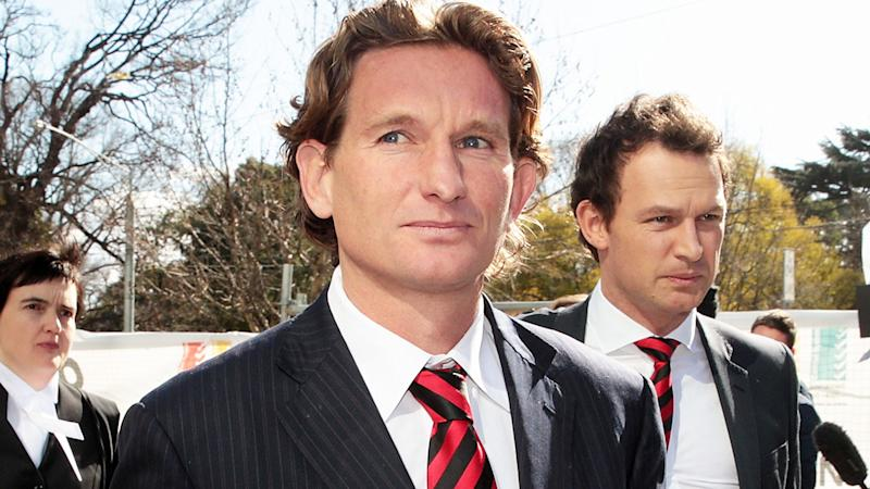 James Hird and Xavier Campbell, pictured here leaving the Federal Court ahead of the case looking into the AFL-ASADA Investigation in 2014.