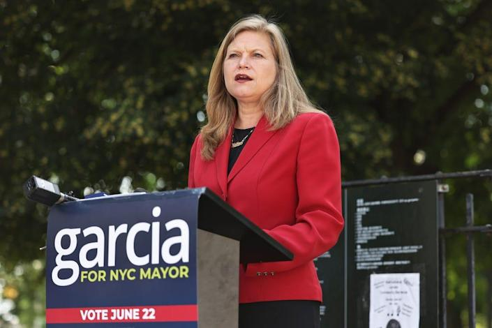 New York City mayoral candidate Kathryn Garcia speaks during a press conference on June 10, 2021 in the Bushwick neighborhood of the Brooklyn borough in New York City.