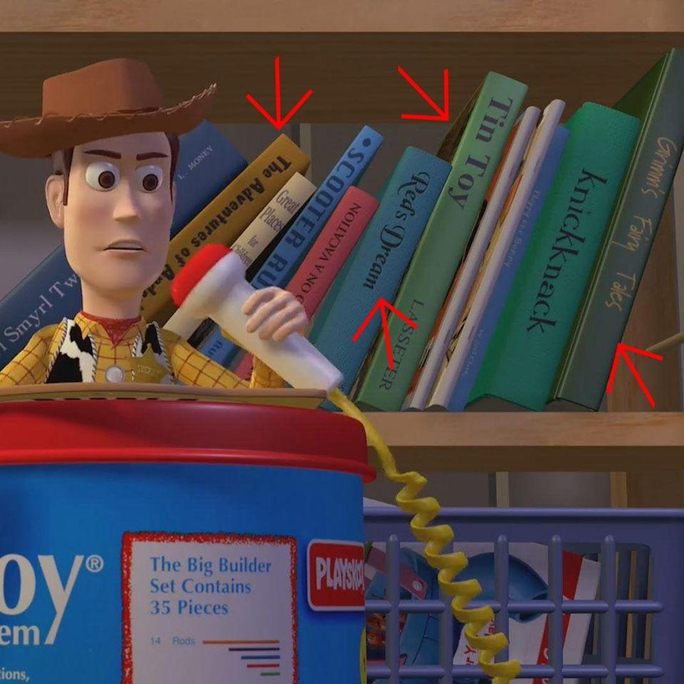 """<p><em><em>Toy Story </em></em>was Pixar's first full-length movie, so there are no feature films to reference, but the titles of the books behind Woody are the names of previous Pixar shorts, like """"Knick Knack,"""" """"<a href=""""https://www.youtube.com/watch?v=2AWjx--CALg"""" rel=""""nofollow noopener"""" target=""""_blank"""" data-ylk=""""slk:Tin Toy"""" class=""""link rapid-noclick-resp"""">Tin Toy</a>,"""" and """"<a href=""""https://www.youtube.com/watch?v=J5cOYlqHflE"""" rel=""""nofollow noopener"""" target=""""_blank"""" data-ylk=""""slk:Red's Dream"""" class=""""link rapid-noclick-resp"""">Red's Dream</a>."""" </p>"""