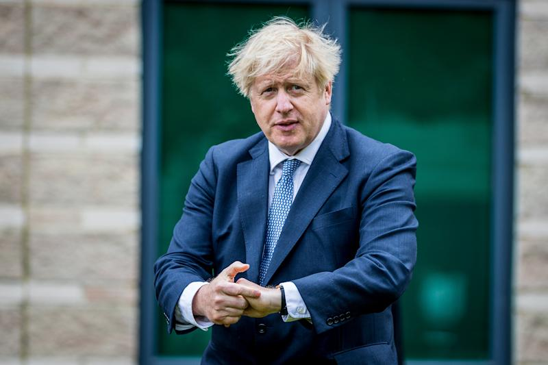 NORTHALLERTON, ENGLAND - JULY 30: Prime Minster, Boris Johnson visits The North Yorkshire police and is introduced to recently graduated Police Officers on July 30, 2020 in Northallerton, North Yorkshire, England. (Photo by Charlotte Graham - WPA Pool/Getty)