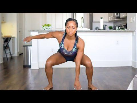 """<p><strong>Level</strong>: intermediate</p><p><strong>Time required</strong>: 25 minutes</p><p><strong>Equipment required</strong>: none</p><p><strong>What to expect</strong>: This one will be having your legs, arms, and core sore the next day. The hardest part is definitely the burpee into pushup combo in the middle so prepare yourself. There are a lot of squat jumps in there, too, so if you're joints are particularly sensitive, you might want to wear sneakers or hop on a yoga mat. Toni Mitchell doesn't do a ton of instruction so the workout may be more favorable for those who are familiar with the exercises. But you can always try and learn as you go.</p><p><a href=""""https://www.youtube.com/watch?v=42FB2WwAIUg"""" rel=""""nofollow noopener"""" target=""""_blank"""" data-ylk=""""slk:See the original post on Youtube"""" class=""""link rapid-noclick-resp"""">See the original post on Youtube</a></p>"""