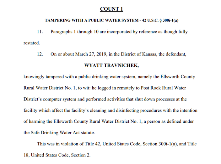 A screenshot of the indictment against Wyatt Travnichek, alleging he tampered with the Post Rock Rural Water District.