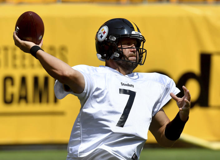 Pittsburgh Steelers quarterback Ben Roethlisberger drops back to pass during an NFL football training camp Saturday, July 31, 2021, at Heinz Field in Pittsburgh. (Matt Freed/Pittsburgh Post-Gazette via AP)