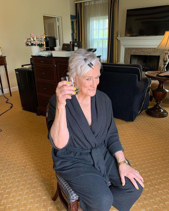 "<p>Glenn Close shared a photo of herself mid glam with a glass of vino.</p><p><a href=""https://www.instagram.com/p/COGiw_PrG88/?utm_source=ig_web_copy_link"" rel=""nofollow noopener"" target=""_blank"" data-ylk=""slk:See the original post on Instagram"" class=""link rapid-noclick-resp"">See the original post on Instagram</a></p>"