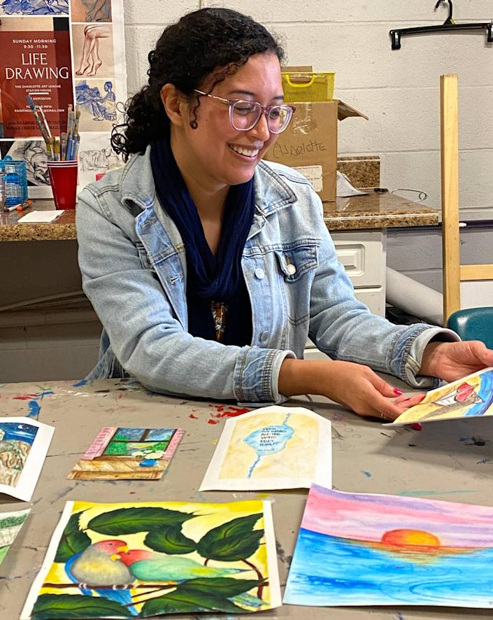 Emerging Charlotte artist Rosa Renteria Jimenez paints with watercolors and acrylics. Born in Mexico, she likes bright colors like those she remembers seeing her grandfather's kitchen in Mexico.