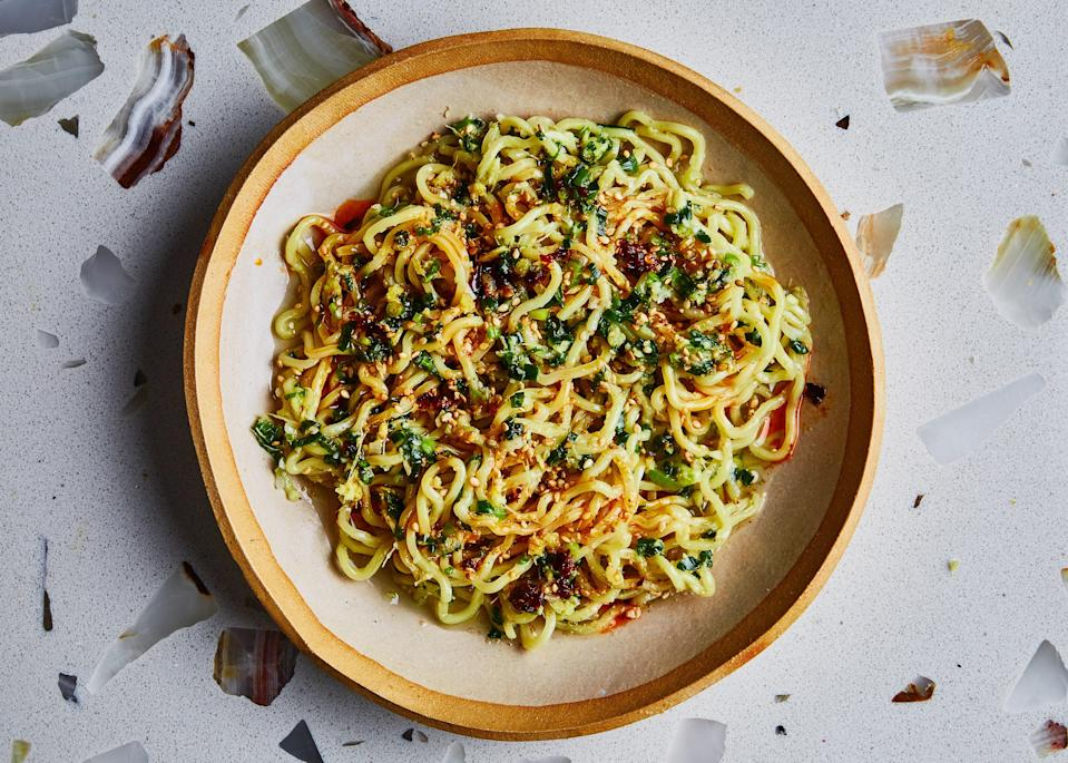 "The noodles are just a vessel for this savory, gingery, simple weeknight sauce. Double the batch, and you'll always have a way to brighten up simple grilled or pan-roasted chops, roasted veggies, or grain bowls. <a href=""https://www.bonappetit.com/recipe/ginger-scallion-ramen-noodles?mbid=synd_yahoo_rss"" rel=""nofollow noopener"" target=""_blank"" data-ylk=""slk:See recipe."" class=""link rapid-noclick-resp"">See recipe.</a>"
