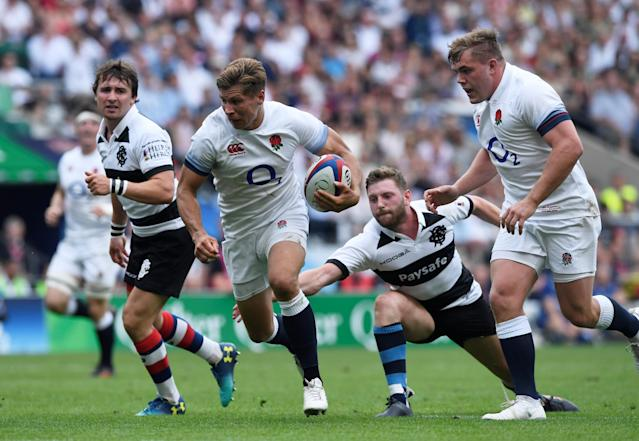 Rugby Union - England v Barbarians, Twickenham Stadium, London, Britain - May 27, 2018 England's Piers Francis in action with Barbarians' Finn Russell Action Images via Reuters/Tony O'Brien