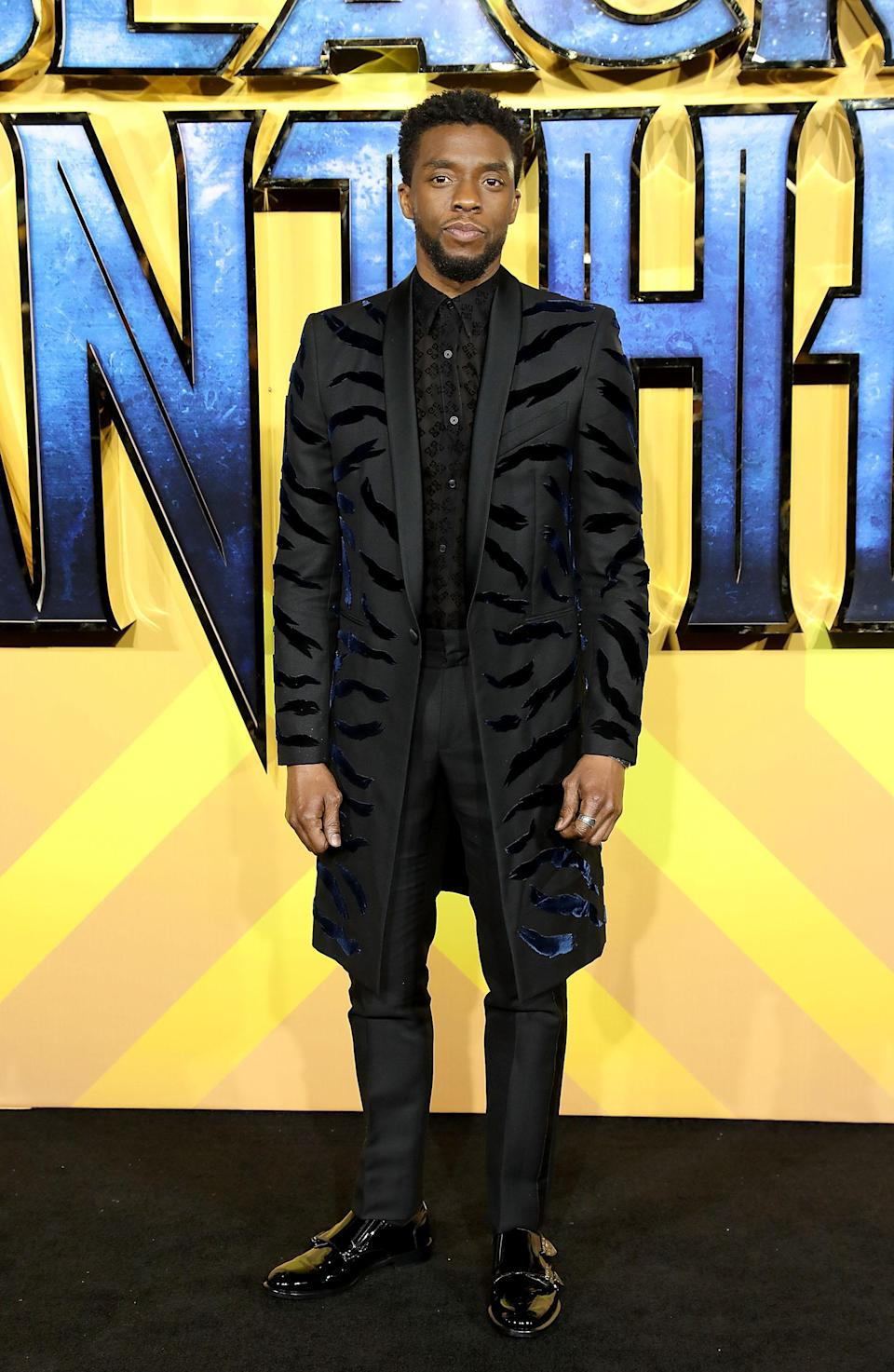 <p>Chadwick, who plays Black Panther in the film, continued the feline theme in a Givenchy look.<em> [Photo: Getty] </em> </p>