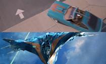 <p>The paint job on Ego's Ford Mustang II King Cobra is an echo of the Star Lord's space ship the Milano from the first 'Guardians of the Galaxy'. </p>