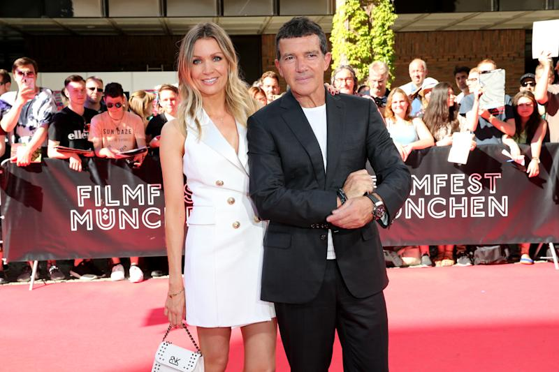 MUNICH, GERMANY - JUNE 29: Antonio Banderas and his girlfriend Nicole Kimpel at the CineMerit Gala during the Munich Film Festival at Gasteig on June 29, 2019 in Munich, Germany. Spanish actor Antonio Banderas is awarded the CineMerit award for his great contribution to the international film and entertainment industry. (Photo by Gisela Schober/Getty Images)