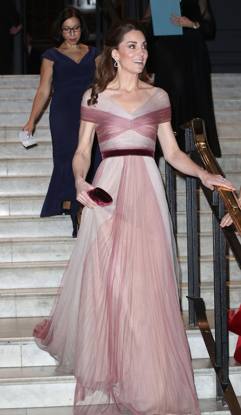 The Duchess wore a pink flowy Gucci gown for a gala celebrating women in finance.