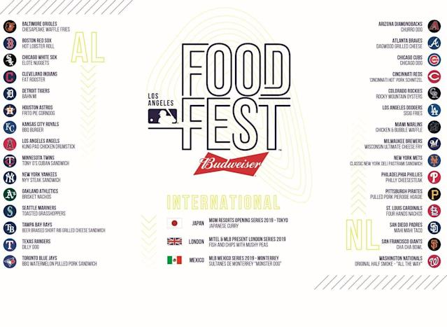 The menu for the MLB Food Fest in L.A. (MLB)