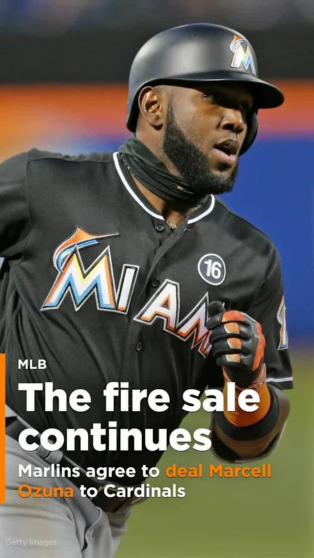 The Miami Marlins hasveagreed to trade left fielder Marcell Ozuna to the St. Louis Cardinals, the third All-Star jettisoned by the Marlins this month in an unrelenting payroll purge under new CEO Derek Jeter.