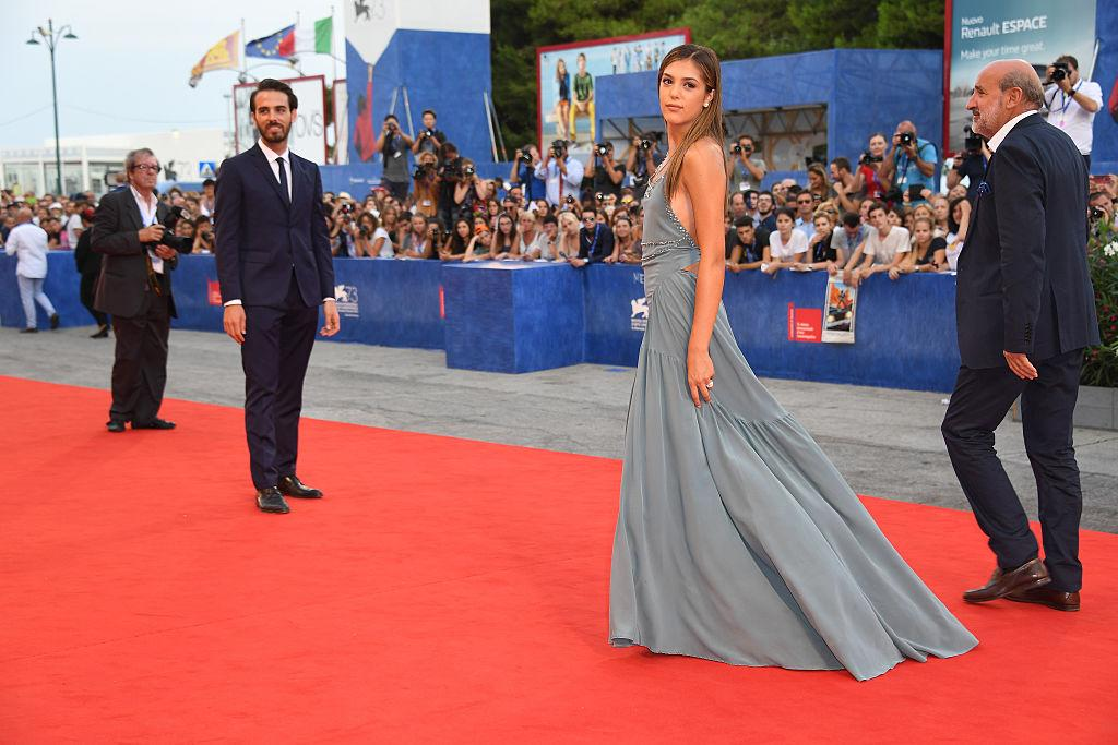 "Sistine glided down the 73rd Venice Film Festival's red carpet in a flowy pale blue number for the premiere of ""Hacksaw Ridge."" (Photo: Getty)"