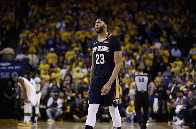 "<a class=""link rapid-noclick-resp"" href=""/nba/players/5007/"" data-ylk=""slk:Anthony Davis"">Anthony Davis</a> has a new agent who also just so happens to represent <a class=""link rapid-noclick-resp"" href=""/nba/players/3704/"" data-ylk=""slk:LeBron James"">LeBron James</a>. (Getty Images)"