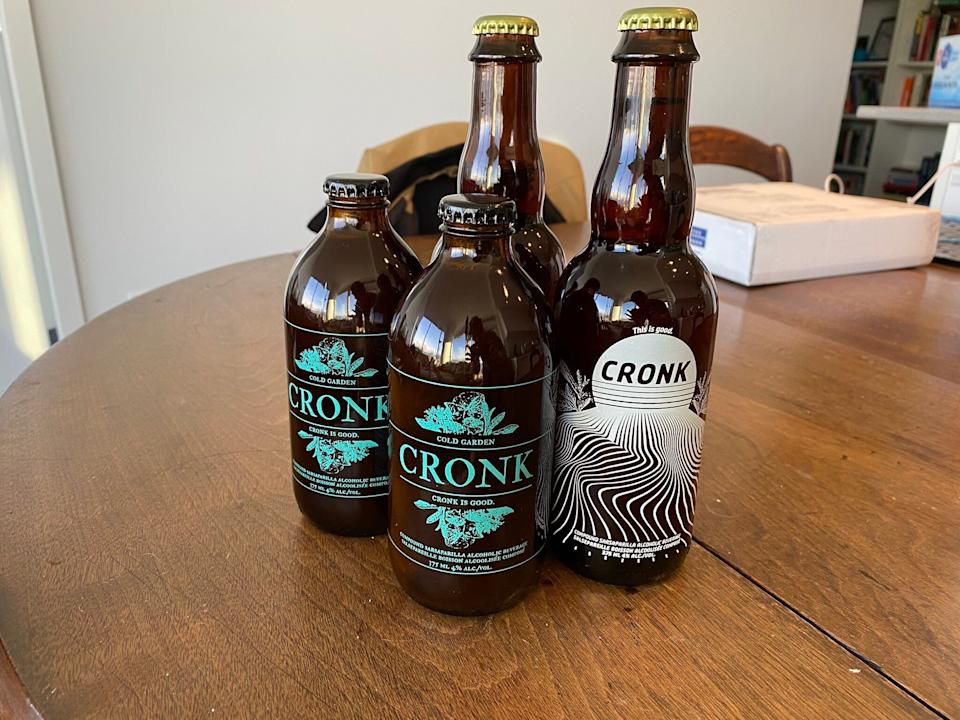 Two bottles of Cronk and two bottles of Modern Cronk.  (Photo: Mel Woods/HuffPost Canada)