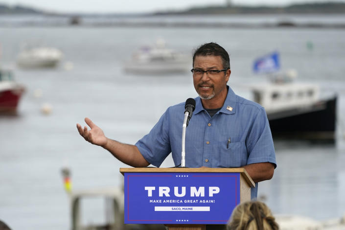 FILE-In this Thursday, Sept. 17, 2020, file photo, lobsterman Jason Joyce speaks at a campaign rally for President Donald Trump at the harbor at Camp Ellis in Saco, Maine. Joyce also spoke at the Republican National Convention, touting Trump's efforts to help the state's lobster industry. (AP Photo/Robert F. Bukaty)