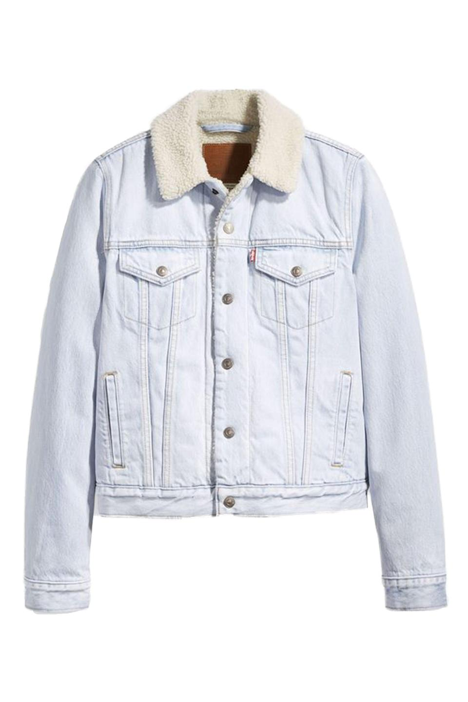 """<p><strong>Levi's</strong></p><p>amazon.com</p><p><a href=""""https://www.amazon.com/dp/B081YW2Z17?tag=syn-yahoo-20&ascsubtag=%5Bartid%7C10063.g.34824549%5Bsrc%7Cyahoo-us"""" rel=""""nofollow noopener"""" target=""""_blank"""" data-ylk=""""slk:Shop Now"""" class=""""link rapid-noclick-resp"""">Shop Now</a></p><p>Levi's sherpa jackets have been worn by every fashion girl from Gigi Hadid to Zendaya. The denim staple is not only a godsend for complicated transitional temps, but a cozy piece to throw on at home.</p>"""