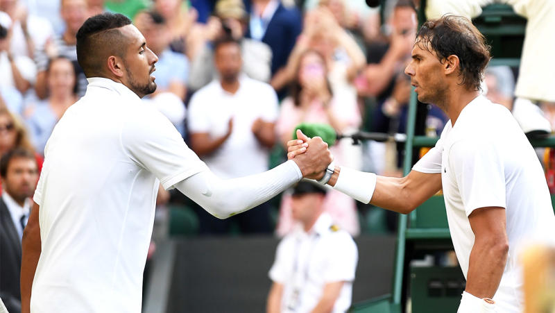 Nick Kyrgios (pictured left) and Rafael Nadal (pictured right). (Getty Images)
