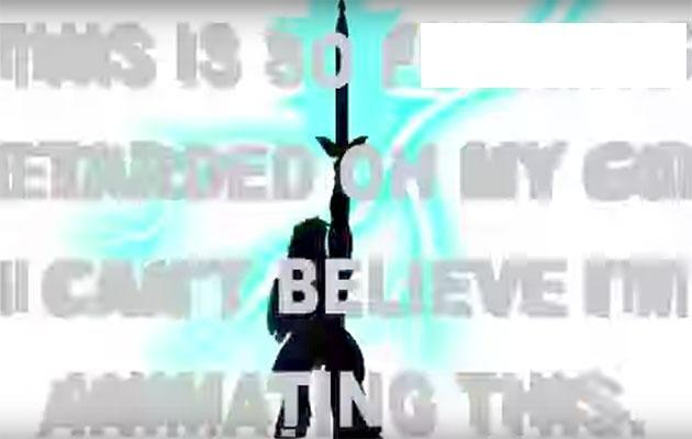 This disturbing message flashes up in a scene from the 'PONY' video. Source: YouTube