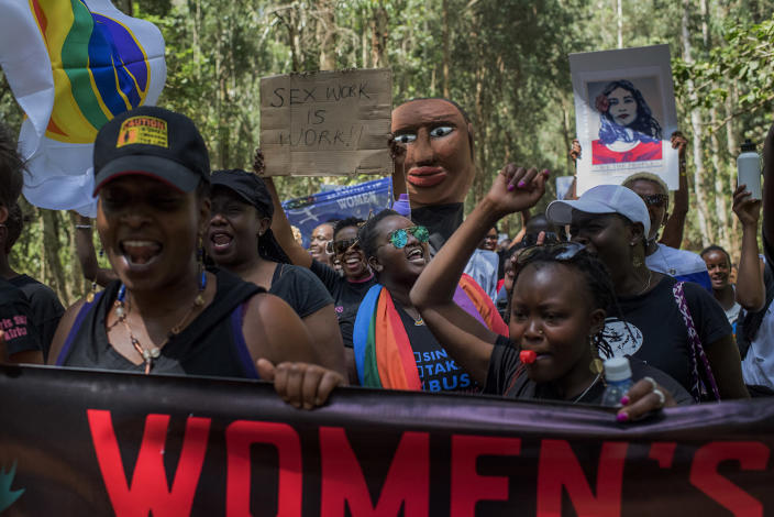 <p>More than 400 people participated in the Nairobi Women's March in Karura Forest, Kenya on Jan. 21. (Photo: Christena Dowsett for Yahoo News) </p>