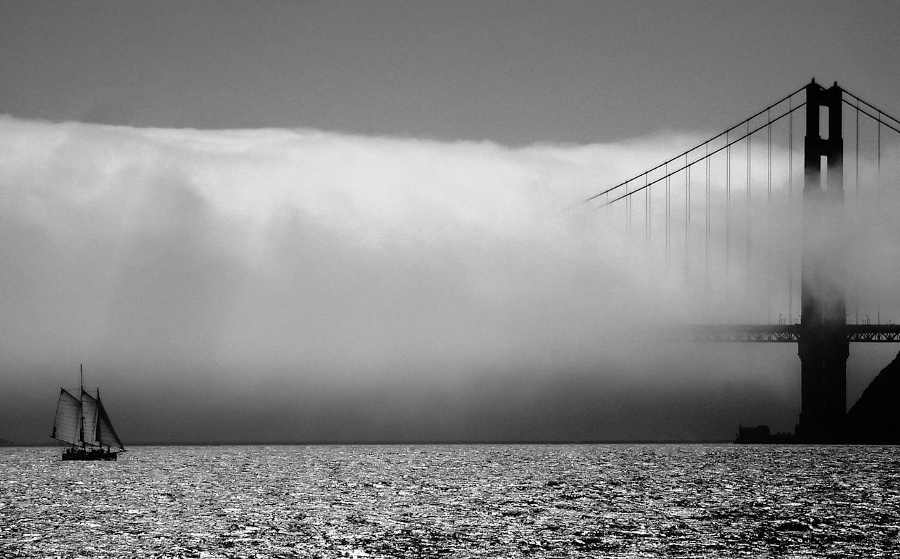 "<p>Golden Gate Bridge in San Francisco – Eric, 61, a retired teacher from Welwyn in Herts said: ""It was taken on a motorbike roadtrip with friends, so I was travelling light. The camera was a relatively basic point and click, a Sony which I'd had for about 10 years. The photo was taken from the ferry across the bay to San Sausalito but I suppose it just proves it's 'right time, right place' so often with photography."" Source: Eric Browett / SWNS </p>"