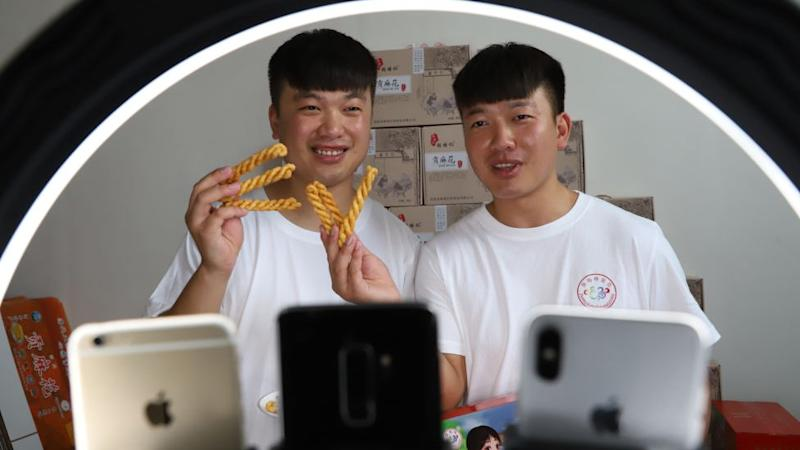 Zhang Yabo and Zhang Ya-zhao present tiktok webcast in Henan Province, China