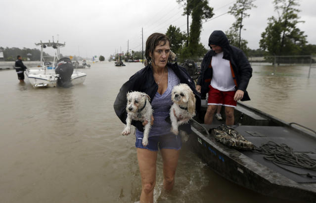 <p>Belinda Penn holds her dogs Winston and Baxter after being rescued from their home as floodwaters from Tropical Storm Harvey rise, Aug. 28, 2017, in Spring, Texas. (Photo: David J. Phillip/AP) </p>