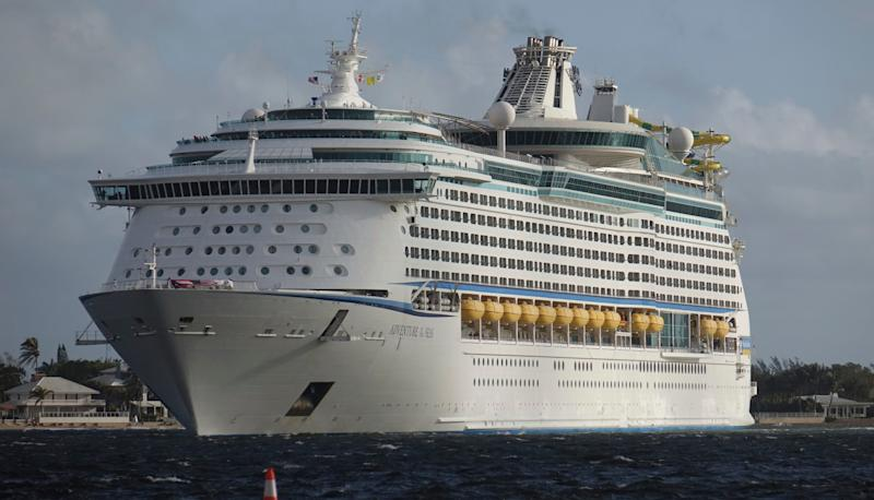 FILE - In this Oct. 3, 2017, file photo, The Royal Caribbean Adventure of the Seas, arrives at Port Everglades in Fort Lauderdale, Fla. Royal Caribbean has announced that its ship Adventure of the Seas will resume port calls to St. Thomas on Nov. 10, and that the ship hopes to be in San Juan, Puerto Rico, and St. Martin by the end of November. It's one of a number of initiatives from the travel industry to remind consumers that the region is recovering from the impact of recent hurricanes. (Joe Cavaretta/South Florida Sun-Sentinel via AP, File) ORG XMIT: FLLAU501