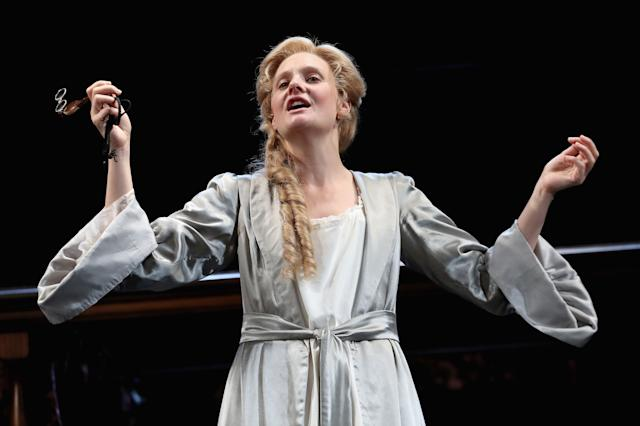 Romola Garai (playing Sarah Churchill) on stage during the 'Queen Anne' photocall at Theatre Royal on July 6, 2017 in London, England.
