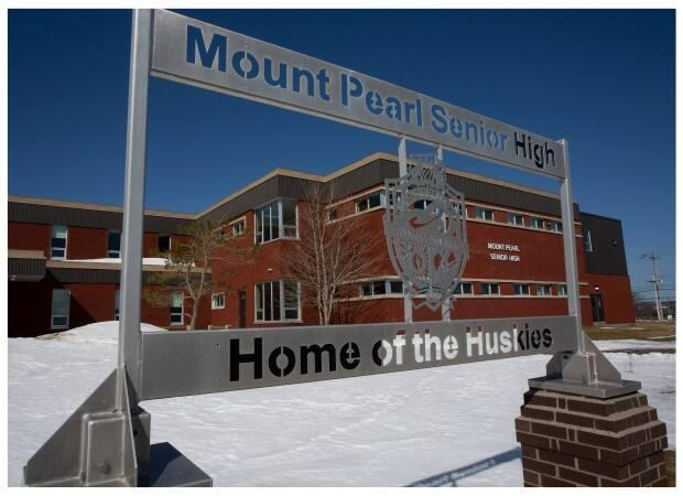 The teachers' union says 15 staff members at Mount Pearl Senior High came down with COVID-19 during a coronavirus variant outbreak in February. (Paul Daly/CBC - image credit)