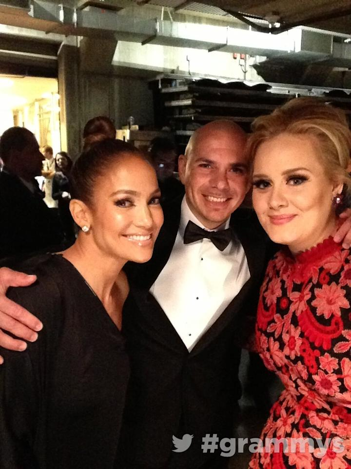 About to hit the stage! #grammys with @officialadele @jlo @pitbull
