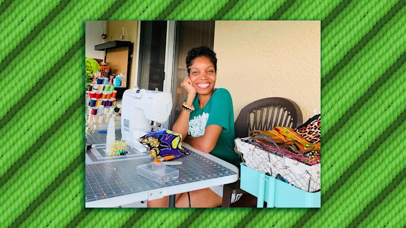 Rickeysha Godfrey working at home in Sebring, Florida, photographed by her 6-year-old daughter. (Illustration: HuffPost; Photo: Courtesy Rickeysha Godfrey)