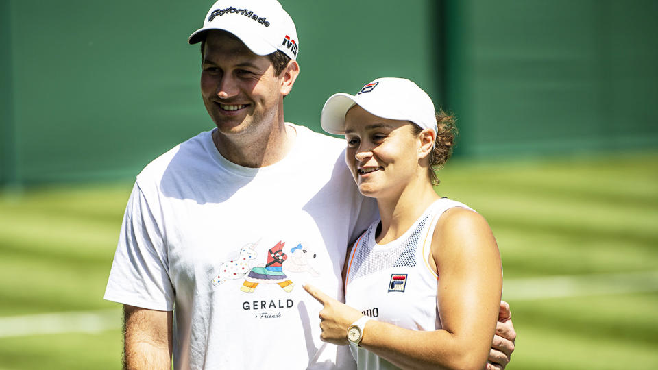Ash Barty, pictured here with boyfriend Gary Kissick at Wimbledon.