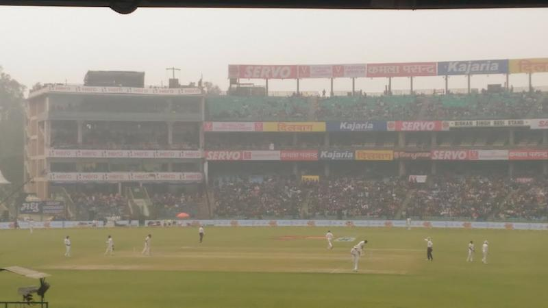 Hazy conditions at the Kotla Stadium in Delhi during the India Sri Lanka Test December 2017. (Ankit Bhardwaj)