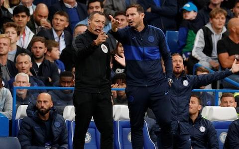 Chelsea manager Frank Lampard remonstrates with the fourth official - Credit: Reuters