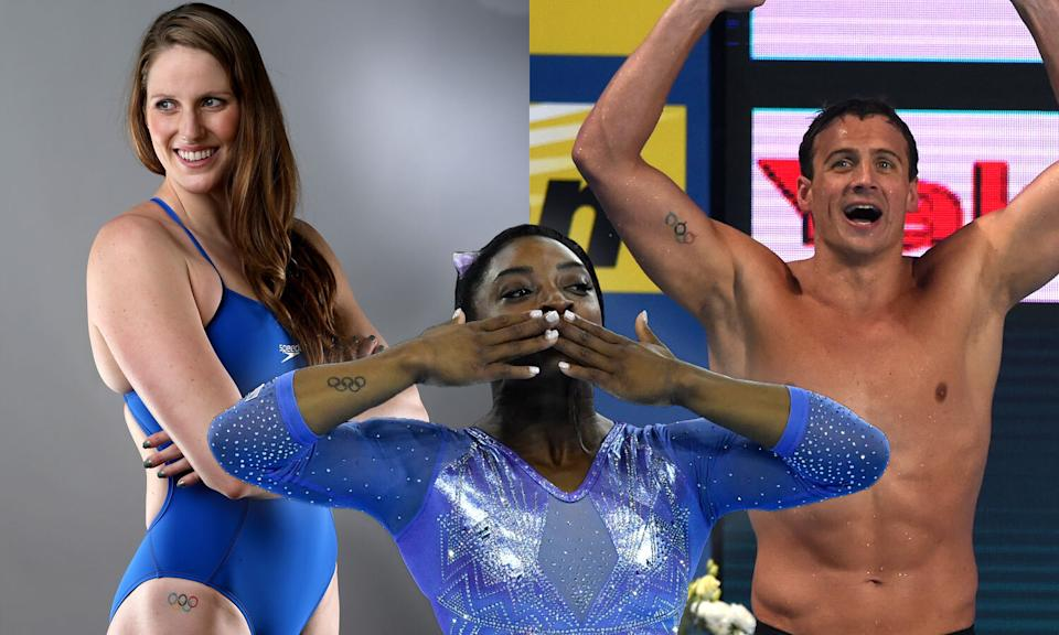 Olympians Missy Franklin, Simone Biles and Ryan Loche have Olympic rings tattoos. (Photos: Getty Images)