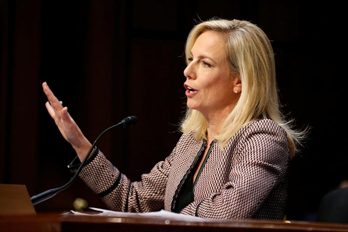 """Homeland Security Secretary Kirstjen Nielsen testifies before the Senate Judiciary Committee on """"Oversight of the U.S. Department of Homeland Security"""" on Capitol Hill on Jan. 16, 2018. (Photo: Joshua Roberts/Reuters)"""