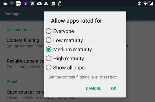 Android phone content filtering controls