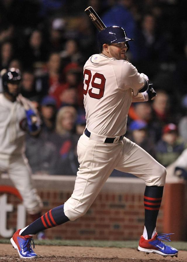 Chicago Cubs' Jason Hammel watches his 2 RBI single during the fourth inning of baseball game against the St. Louis Cardinals in Chicago, Sunday, May 4, 2014. (AP Photo/Paul Beaty)