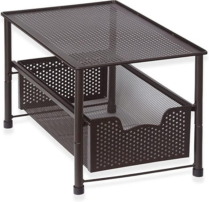 <p>Create extra drawer space with this <span>SimpleHouseware Stackable Under Sink Cabinet Sliding Basket Organizer Drawer, Bronze</span> ($25).</p>