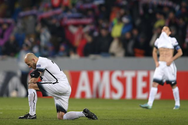 Soccer Football - Europa League Round of 32 Second Leg - Viktoria Plzen vs Partizan Belgrade - Doosan Arena, Plzen, Czech Republic - February 22, 2018 Partizan Belgrade players looks dejected REUTERS/Milan Kammermayer