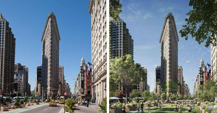 New York City's Flatiron District is transformed into a verdant paradise full of living greenery, as digitally transformed by WATG.