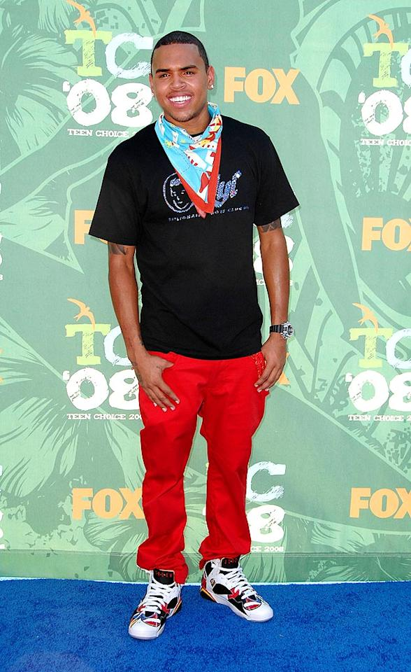 """Chris Brown bombed in a hideous handkerchief and bright red pants. Steve Granitz/<a href=""""http://www.wireimage.com"""" target=""""new"""">WireImage.com</a> - August 3, 2008"""