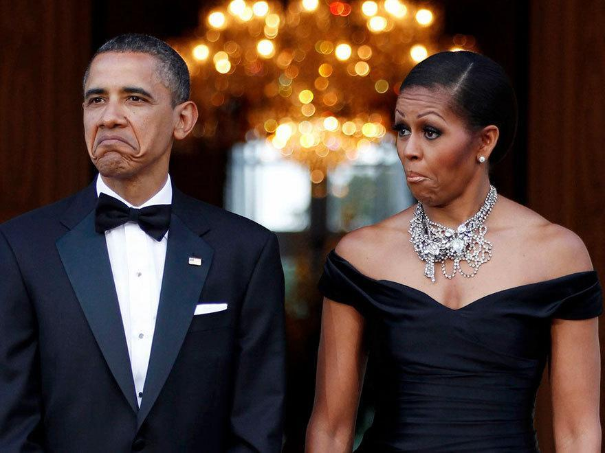 <p>When they made matching faces on their first state visit to the United Kingdom. Their candid expressions have been immortalized as a meme. [Photo: Larry Downing]</p>
